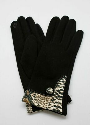 Gloves with snakeskin accent