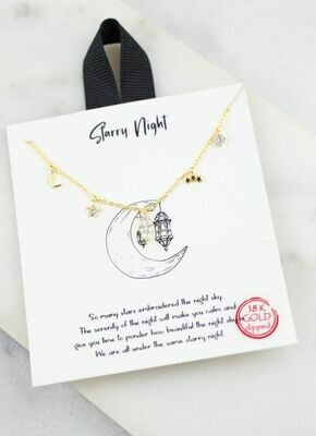 Starry night charm necklace