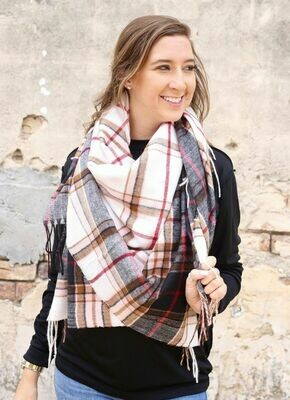 Caylan plaid scarf white