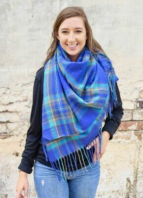 Murphy plaid scarf blue