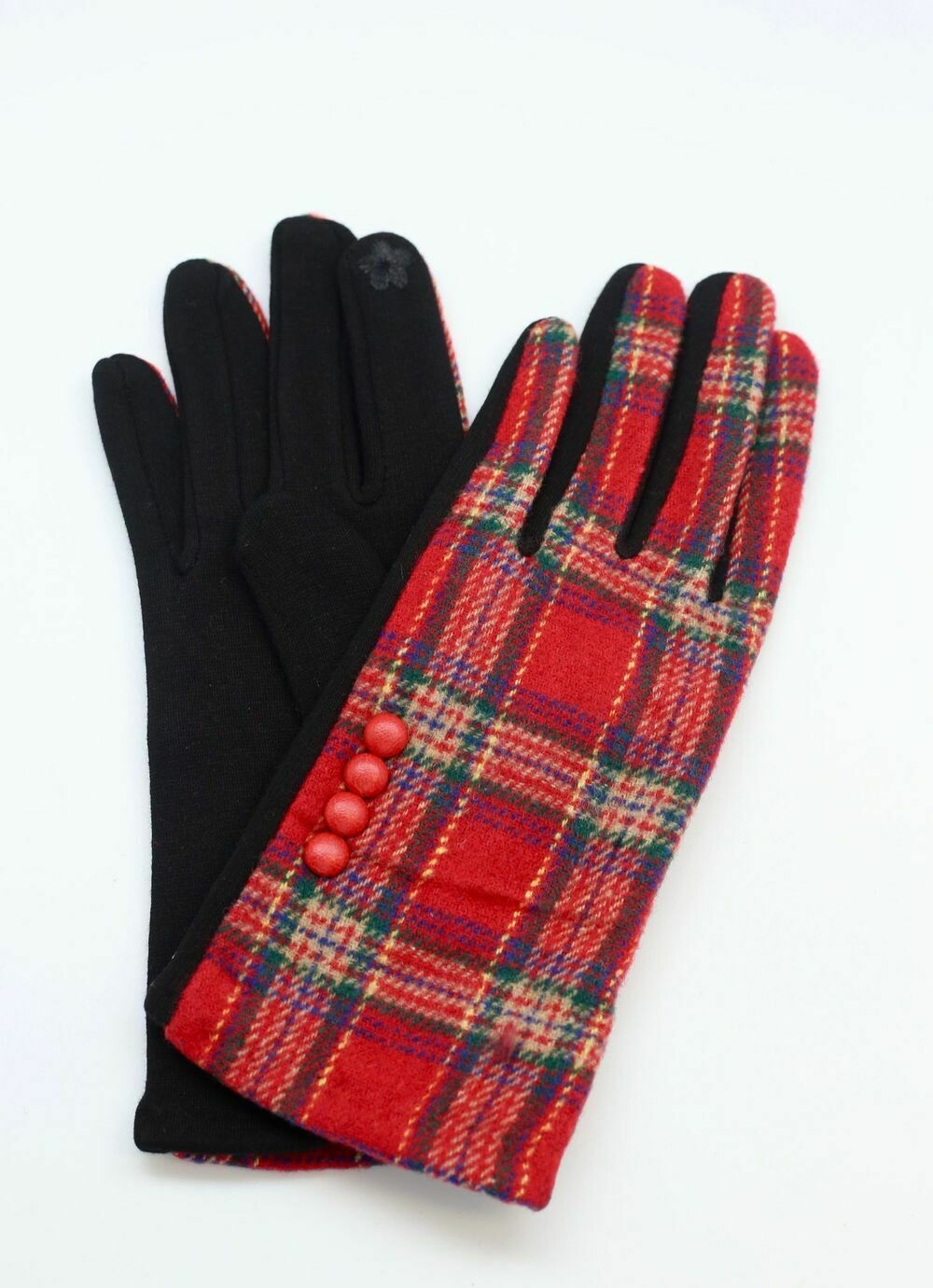 Plaid gloves with button accents red