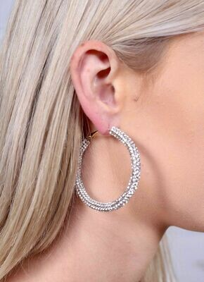 Demi stone pave hoop silver