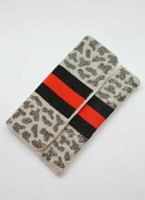 Beaded leopard print crossbody red stripe