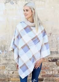 Faux fur plaid poncho blue