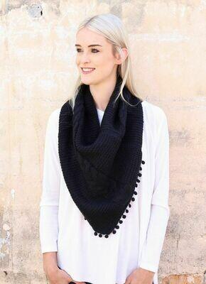 Loop scarf with pom pom trim black