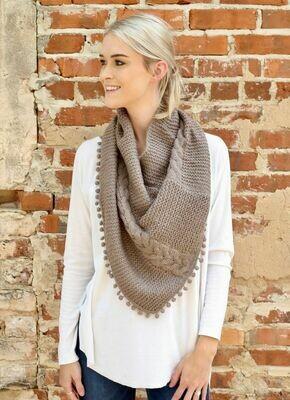 Loop scarf with pom pom trim taupe
