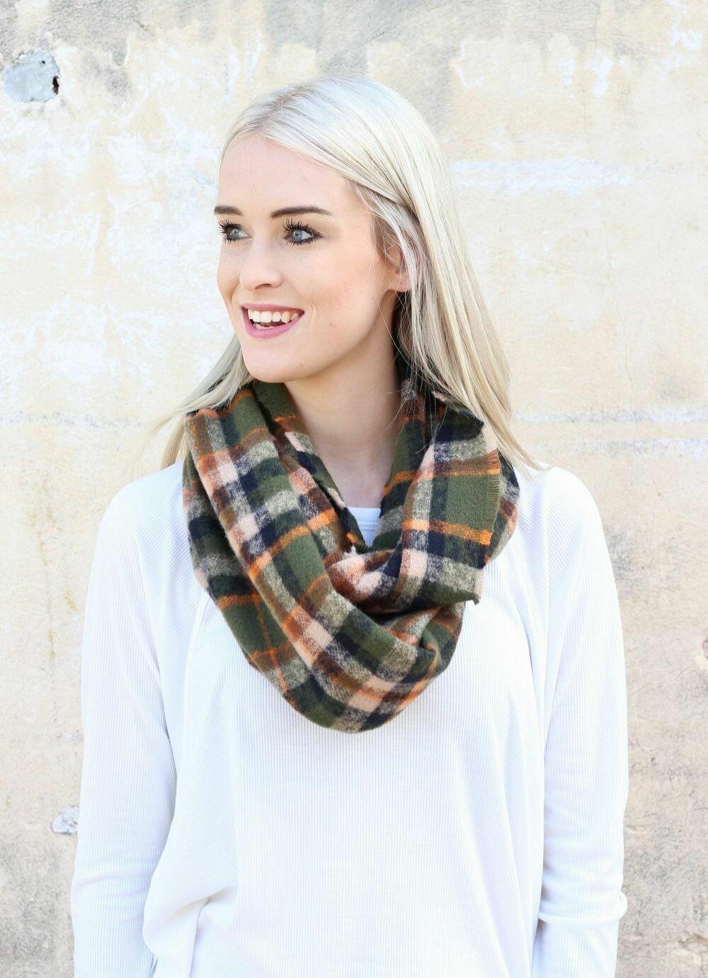 Plaid infinity scarf olive