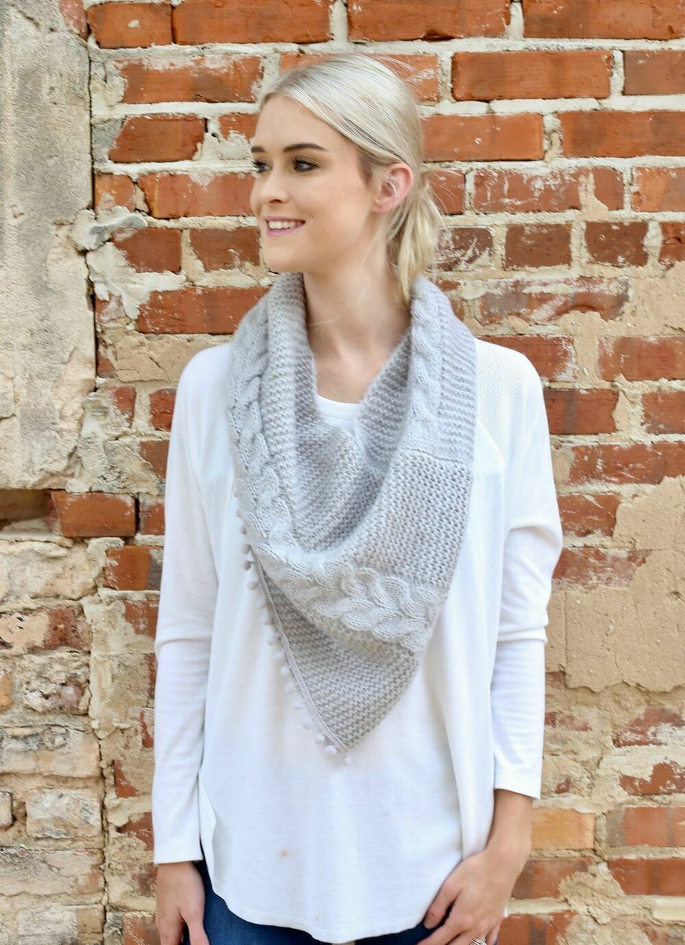 Loop scarf with pom pom trim light gray
