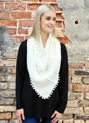 Loop scarf with pom pom trim cream