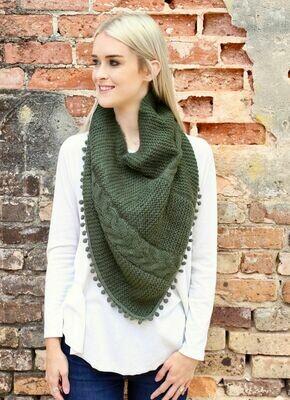 Loop scarf with pom pom trim green