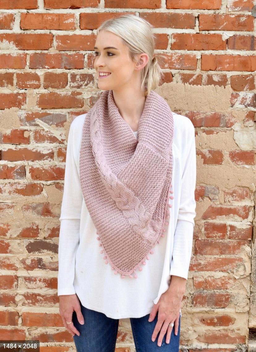 Loop scarf with pom pom trim dusty pink