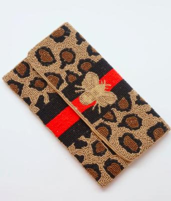 Beaded bee leopard crossbody bag