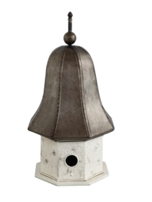 27 inch decorative metal birdhouse white