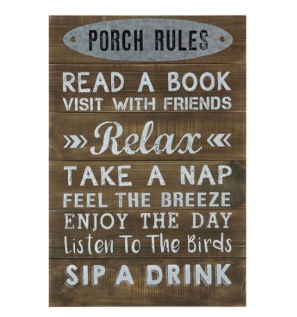Porch rules wall decor