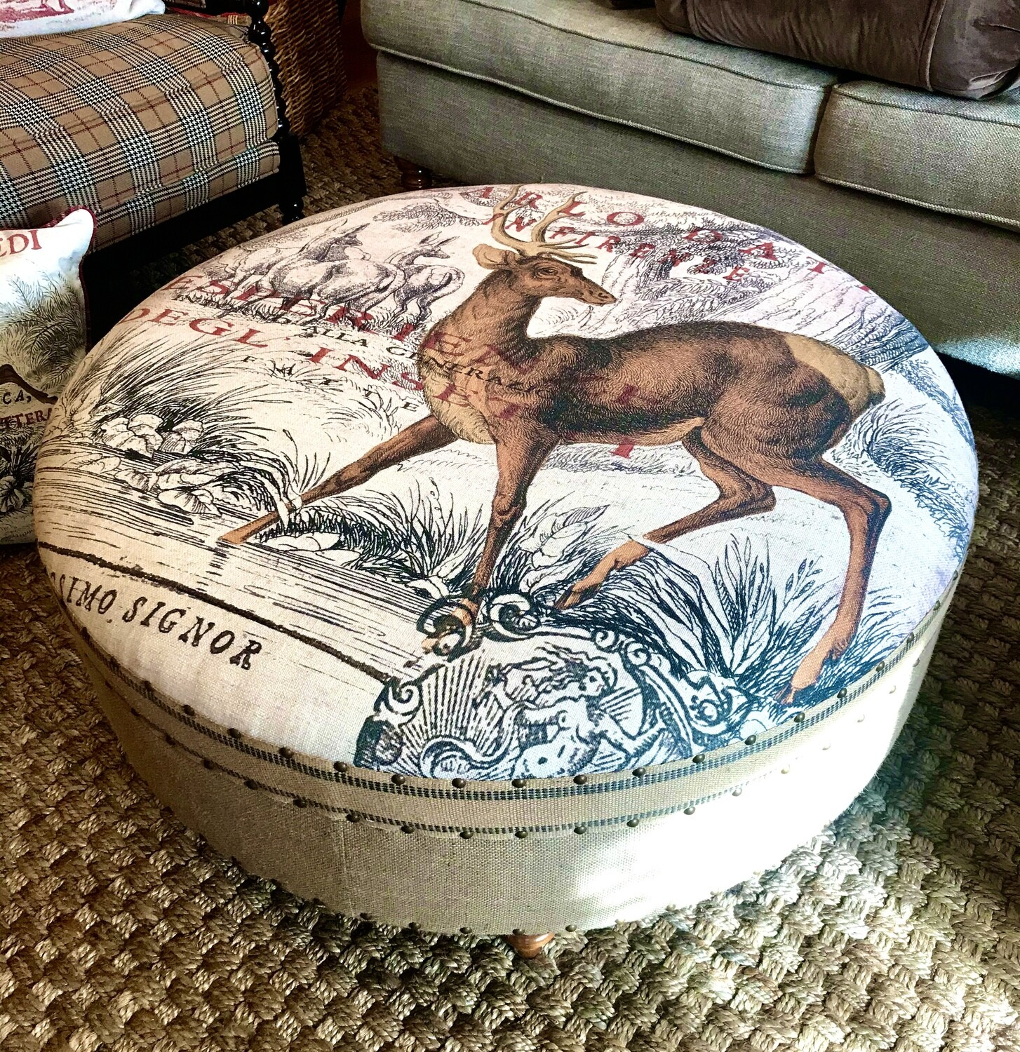 40 inch round ottoman carlo deer with burlap sides
