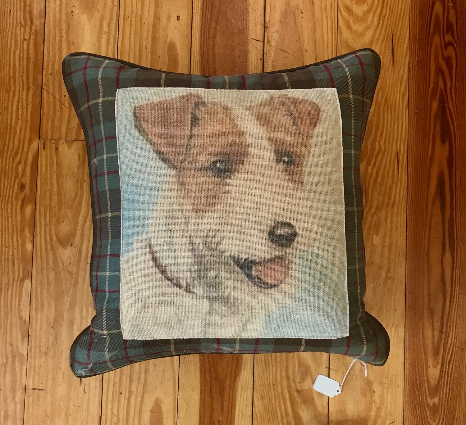 Jack russell pillow plaid