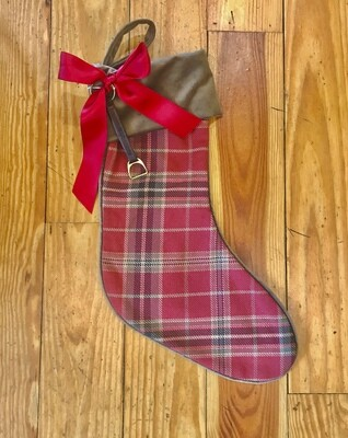 Stocking red plaid with stirrup