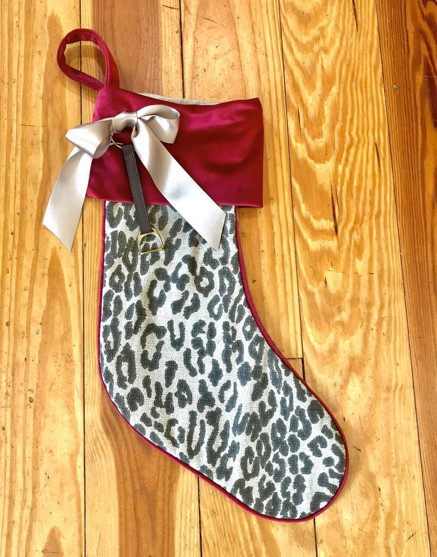 Stocking leopard with stirrup