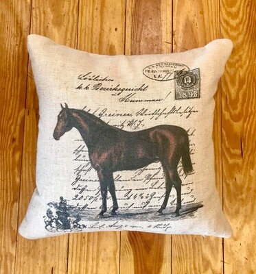 Equestrian printed pillow
