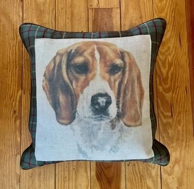 Beagle pillow plaid