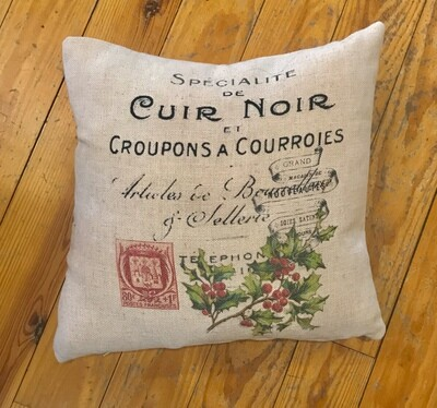 Cuir noir pillow