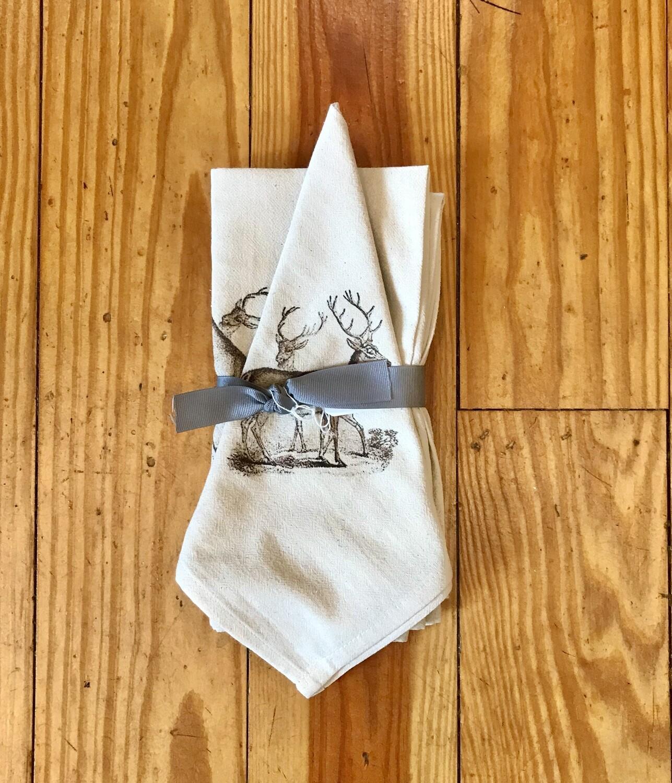 Flour sack napkins set of 4 brown deer
