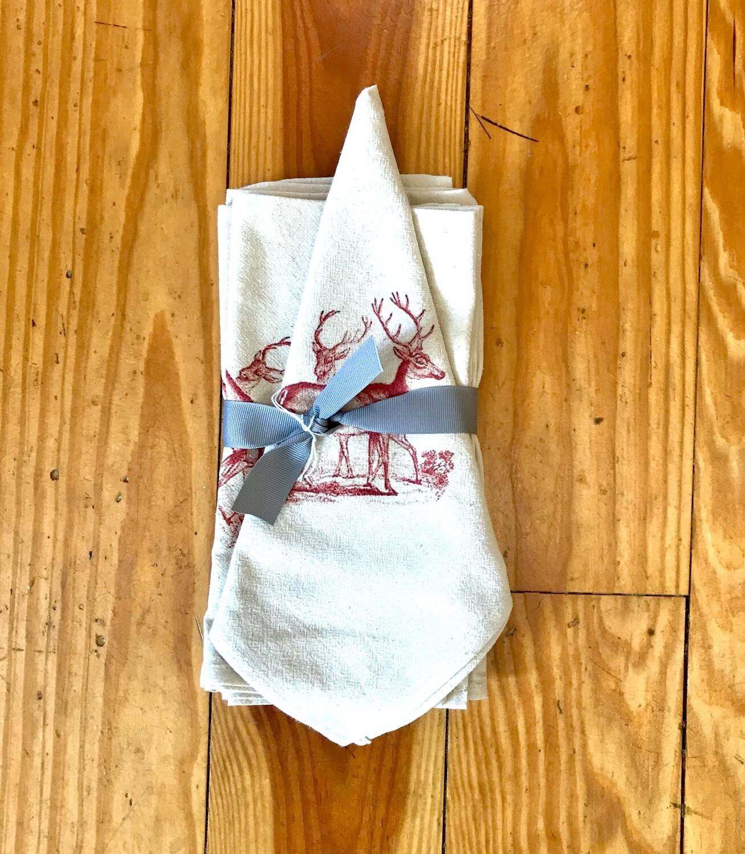 Flour sack napkins set of 4 red deer