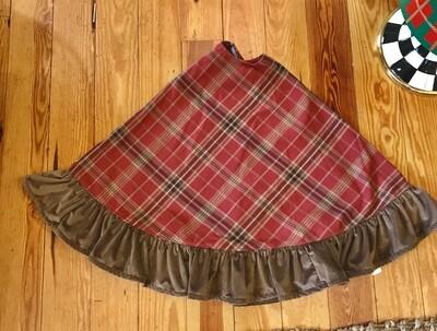 Tree skirt red plaid and velvet