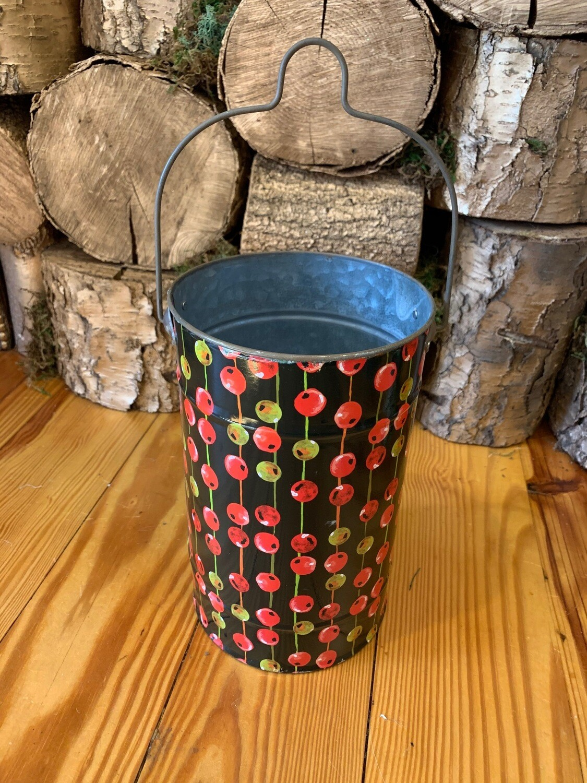Christmas bucket with handle black background medium
