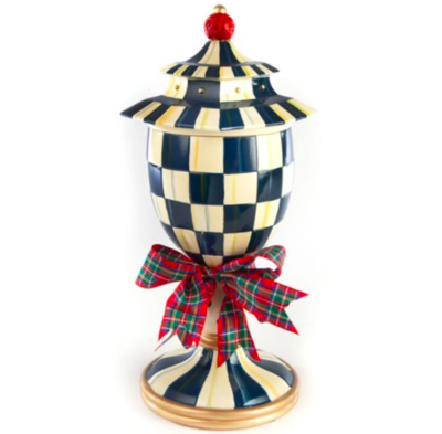 Royal check lidded urn large