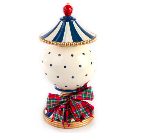 Royal check lidded urn small