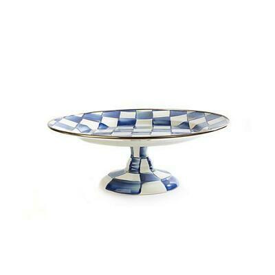 Royal check pedestal platter small