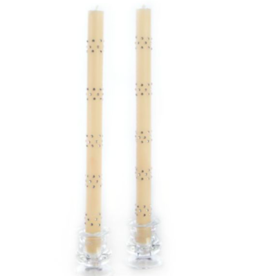 Sparkle dinner candles band ivory set of 2