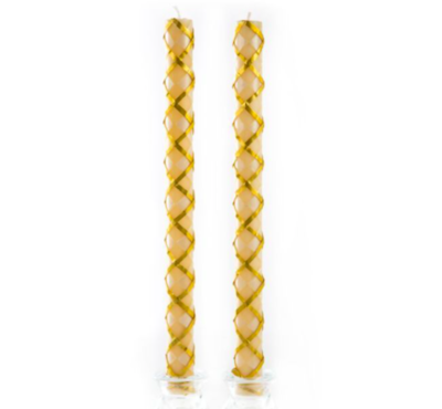 Argyle dinner candles gold set of 2