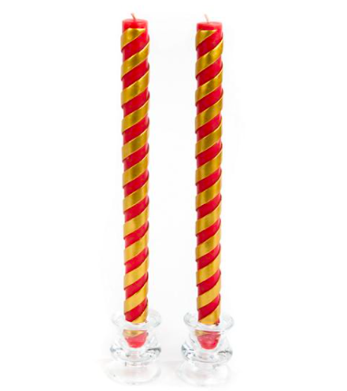 Candy cane dinner candles red set of 2