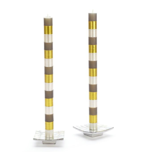 Multi bands dinner candles gray and gold