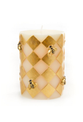 Bee pillar candle 4 inch gold