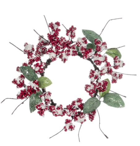 Ice berry leaf candle wreath 7 inch