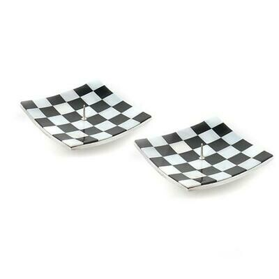 Square candle holders black and pearl set of 2
