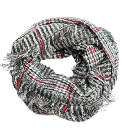Plaid infinity scarf gray