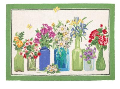 Flower vase hook rug green