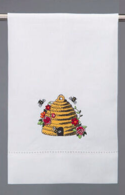 Beehive with flowers towel