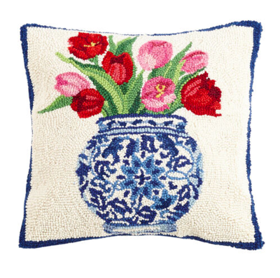 Chinoiserie vase tulips pillow
