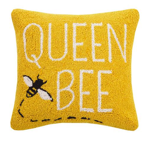 Queen bee pillow yellow 16x16