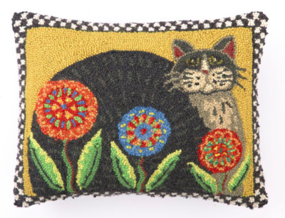 Penny flower cat hook pillow 14x18