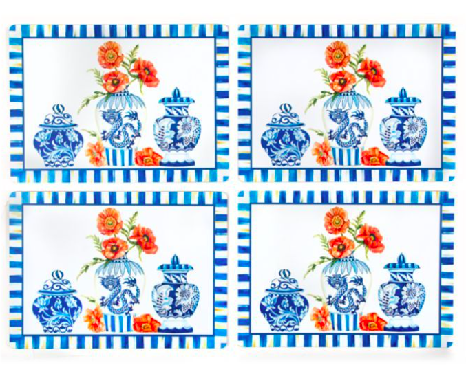 Chinoiserie cork back placemats set of 4