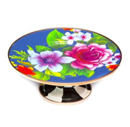 Flower market pedestal platter mini lapis