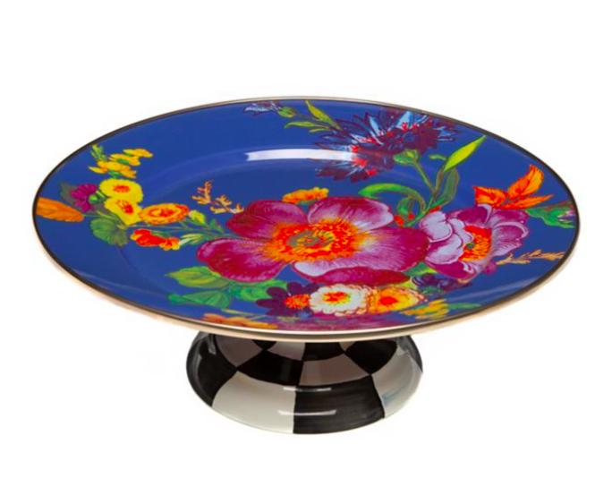 Flower market pedestal platter small lapis