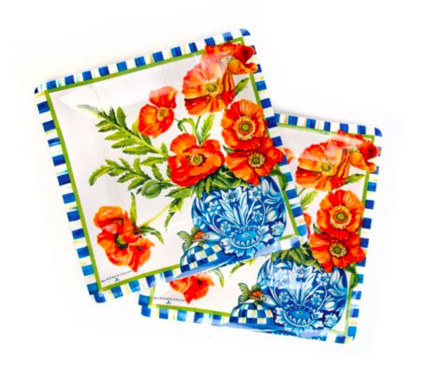 Ming poppies paper plates salad/dessert