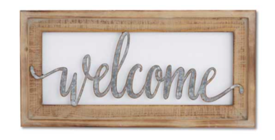 20 inch wood framed tin cutout wall sign welcome